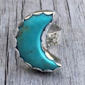 Kingman Turquoise Moon Sterling Silver Ring.